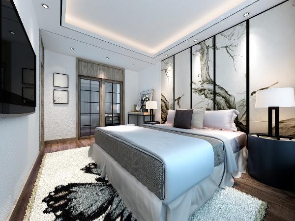 卧室: 墙面用禅意的花鸟壁纸装饰,地面浅色地砖,配上新中式风格衣柜和床,整体软装搭配衔接无缝。