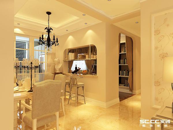 餐厅的设计赋予欧式设计,书房墙面的镂空,突出的台面放着小酒杯,浓浓的小资生活脱颖而出。