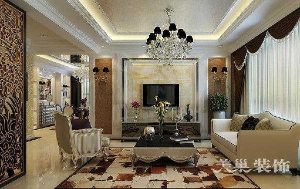 锦艺国际华都114平三室两厅装修简欧效果图——电视背景墙,要求立体空间材质的搭配以及整个欧式空间元素的融入