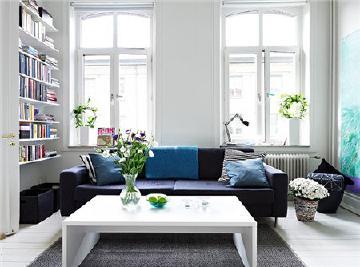 蓝白清新风格的北欧公寓装修家居