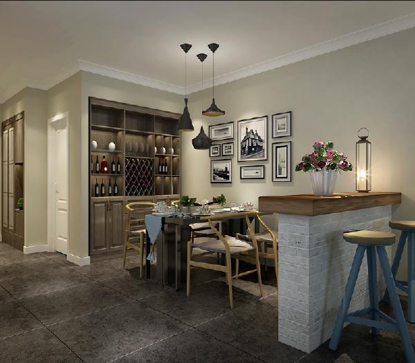 客厅与餐厅之间设一吧台相隔,既实用又美观。
