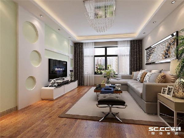 客厅作为待客区域,一般要求简洁明快,同时装修较其它空间要更明快光鲜。耐脏颜色的沙发适宜待客,简单的电视背景墙体现了不事张扬的品位。