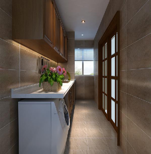 天然完整的玄关区域,利用大理石的自然纹理,增添了空间的细腻质感。 藉由进口壁纸為视线打底,衬托出端景柜的低调华丽。
