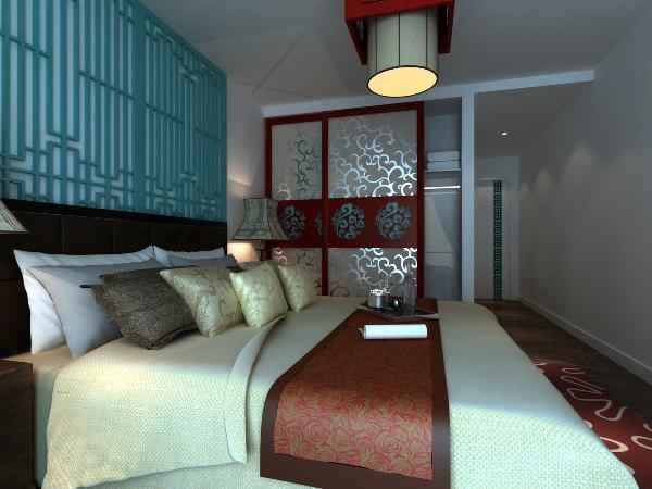 主卧室:床头的二个花格象形格栅门,就像二个心灵的窗户,通达大胆的色采呼应衣柜,达到一种心灵的冲激!