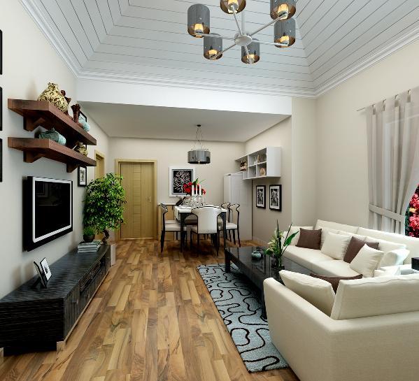 两室两厅90平北欧简约荔城公馆客厅效果