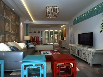 柏林爱乐三室两厅现代中式风格