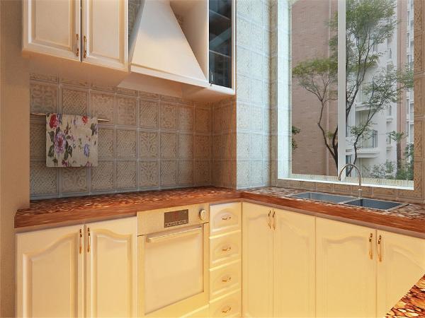 厨房主要白色的橱柜搭配米色的墙砖,看起来非常干净,大气,让女主人在烹饪过程中会放松身心。