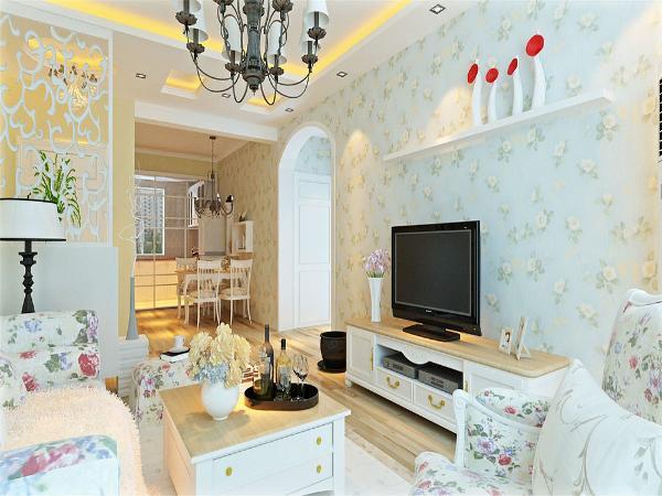 本案以田园风格为主的设计,墙体颜色与家具的搭配,突出室内温馨浪漫的感觉,特别适合年轻人。