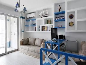 地中海 三居 收纳 旧房改造 白领 小资 书房图片来自沙漠雪雨在100平米地中海蔚蓝风情三居室的分享