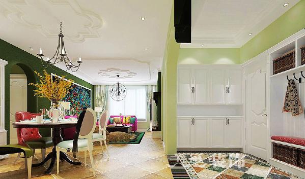 郑州瑞园3室2厅装修设计130平美式样板间——餐厅效果图