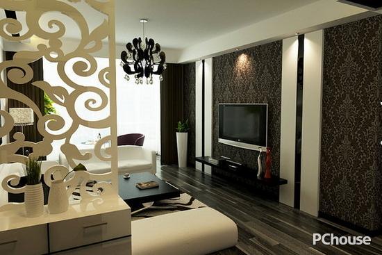 白色玄关与鞋柜使得进门就给人一种典雅的气息,而配上电视背景墙的黑色调,这就让整个空间给人一种时尚的感觉。