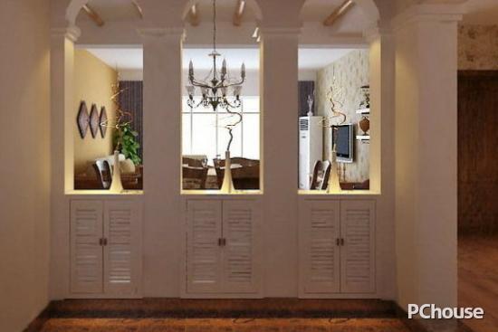 鞋柜上方做了三个开放式的拱形窗,更像是到了田园小镇。而这样的一种设计是不是很特别呢?