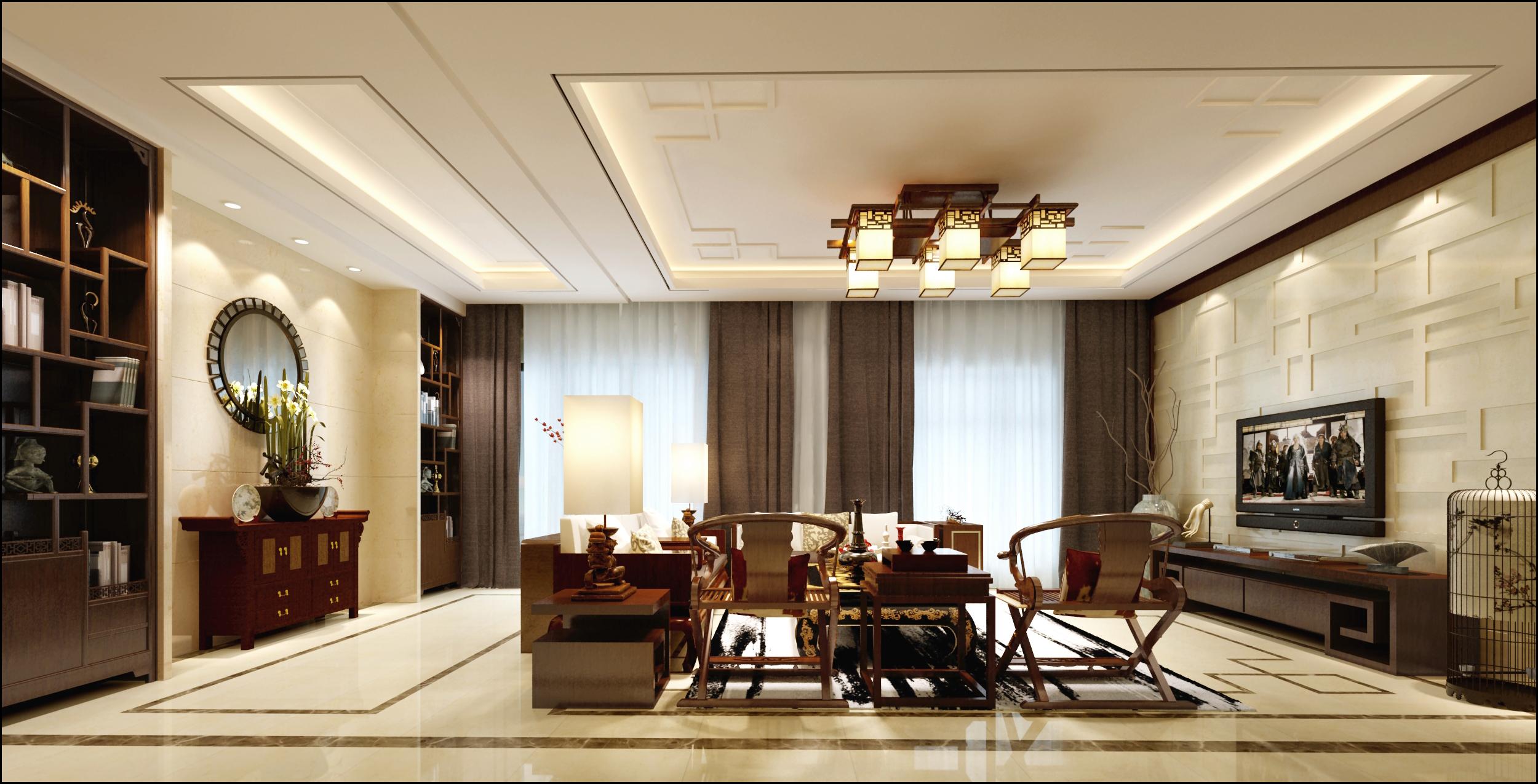 客厅图片来自北京居然元洲装饰小尼在盘龙谷新中式风格210平别墅的分享