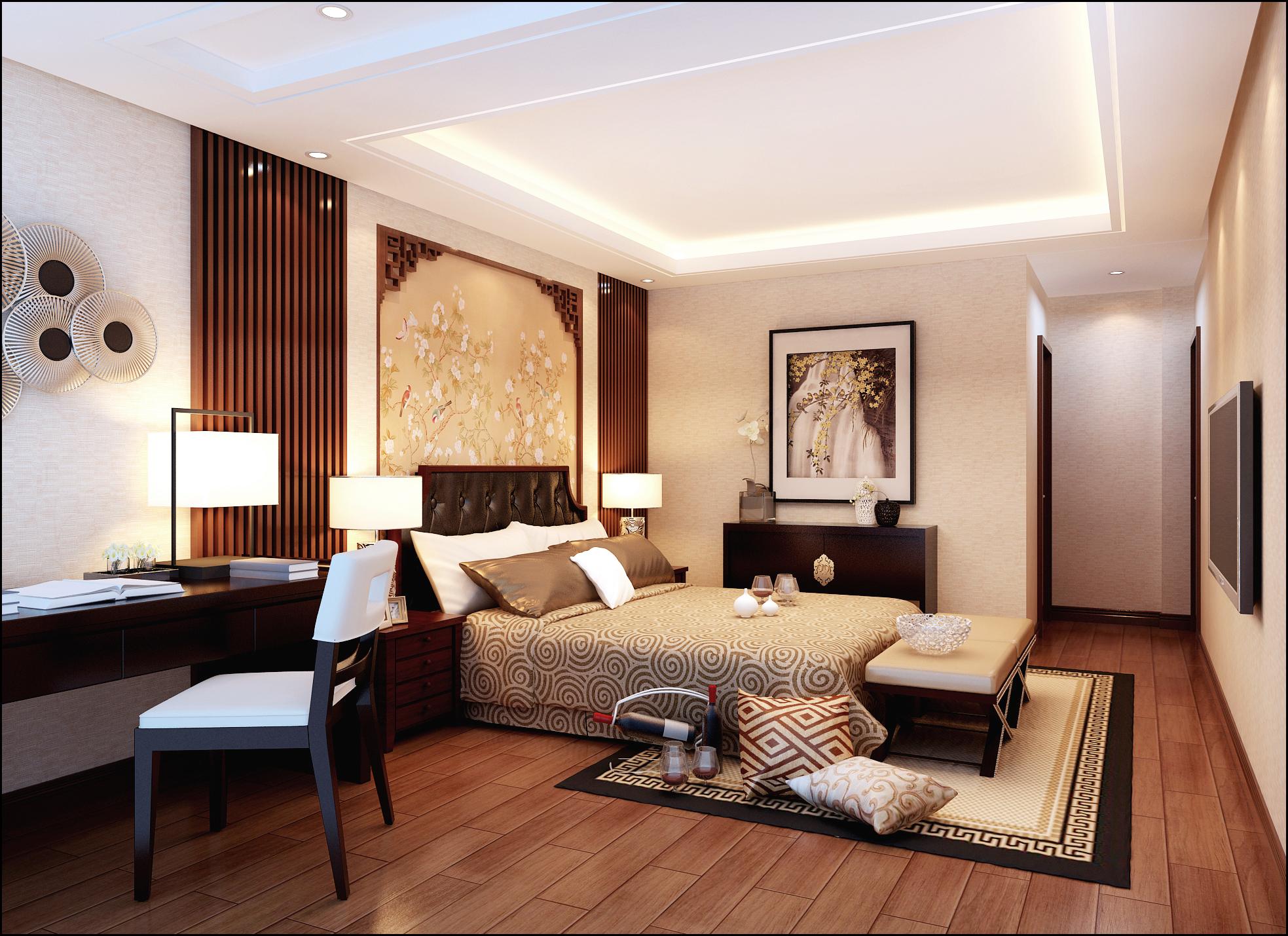 卧室图片来自北京居然元洲装饰小尼在盘龙谷新中式风格210平别墅的分享