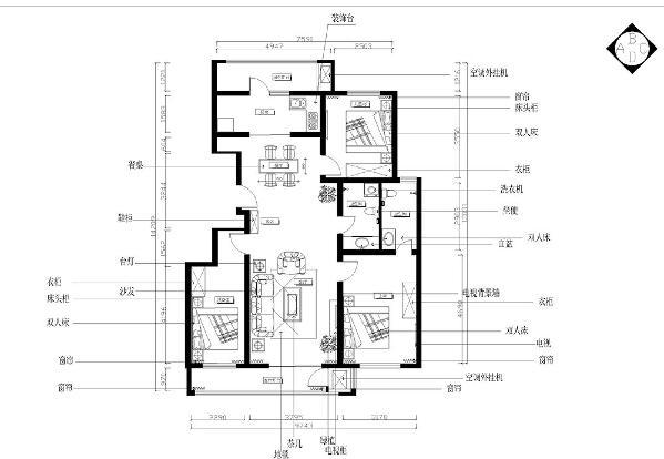 本案的户型特点是居住空间比较宽敞,房高适中,空间比较规整,入户进入之后没有独立的玄关,入户玄关包含在餐厅里面,餐厅的左面是厨房,厨房的左面是厨房阳台。