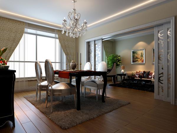 餐厅:在实木地板、白色吊顶的衬托下,餐桌从空间中凸显了出来,以退为进的装饰手法,使得干净清爽的客房隔断门在此空间中,越发地亮眼。