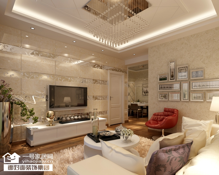 现代简约 三居 白领 收纳 80后 小资 客厅图片来自武汉一号家居在福星城94平现代简约装修案例的分享