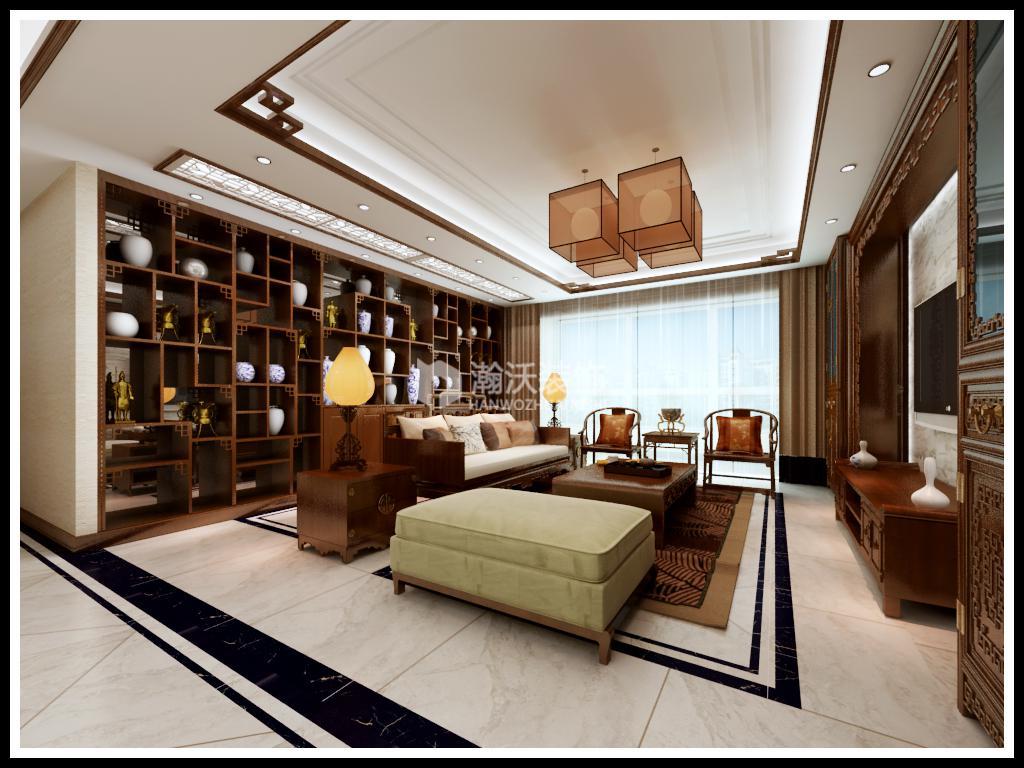 中式 星河盛世 整体家装 客厅图片来自河北瀚沃装饰在星河盛世237㎡中式风格案例的分享