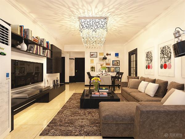电视背景墙以简单的电视柜及书架为主,沙发背景墙以挂画做装饰,整个空间氛围更具活力,简单的诠释了后现代风格的特点;简单却不乏味。