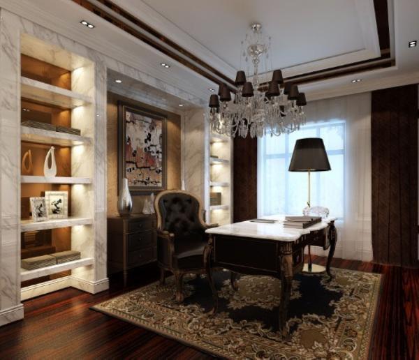 书房是很隐私的空间,整体色系以沉稳为主,书架的部分用石材饰面,石材的纹理配上古典的家具,有种低调奢华的效果。