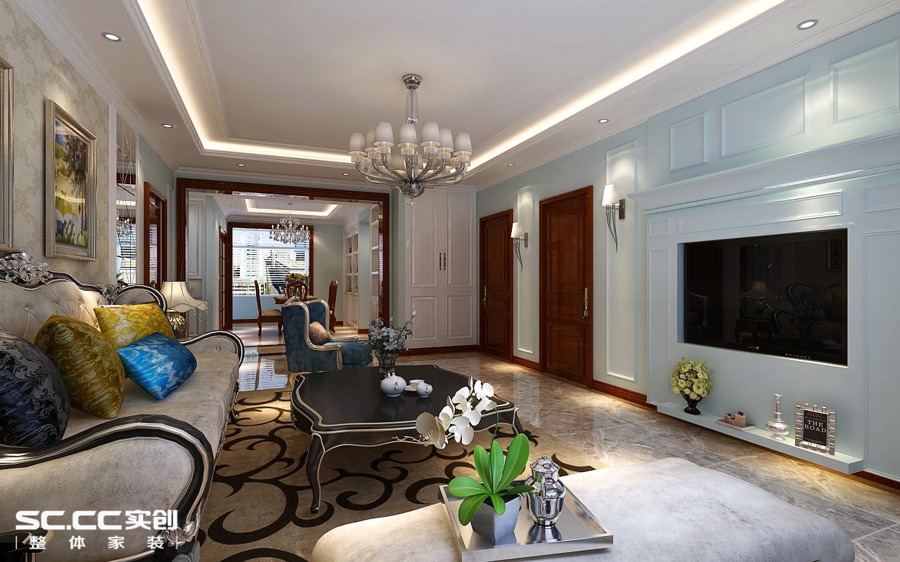 欧式 三居 客厅图片来自哈尔滨实创装饰阿娇在漫步巴黎161平简欧风格三居室的分享