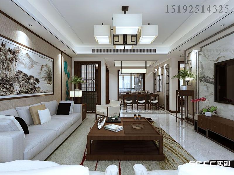 三居 新中式 实创 保利叶公馆 客厅图片来自快乐彩在保利叶公馆三居157㎡新中式装修的分享