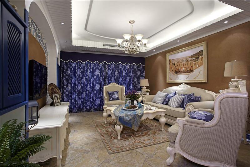 地中海 客厅图片来自四川幸福魔方装饰在旺府凯旋门 92平  套三的分享