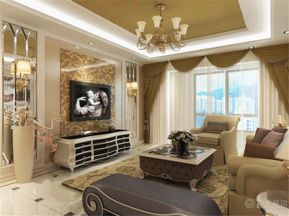 欧式 简约 三居 小资 80后 吊顶 电视柜 客厅图片来自阳光力天装饰在简欧风格   松江城  134㎡的分享