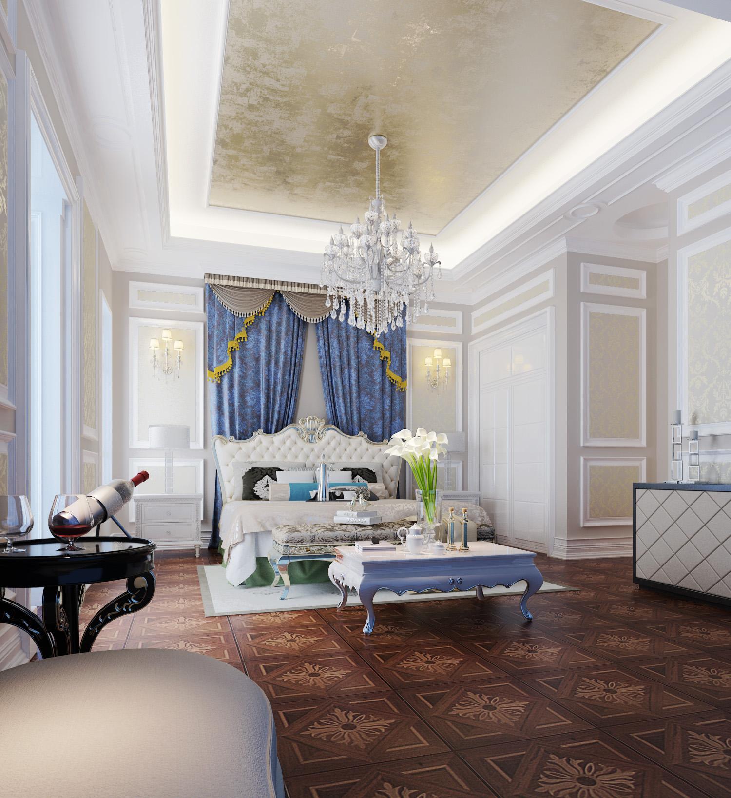 法式风格 别墅装修 装修设计 梵客家装 装修公司 卧室图片来自天津梵客家装实景体验馆在210平浪漫法式风格|仁爱团泊湖的分享
