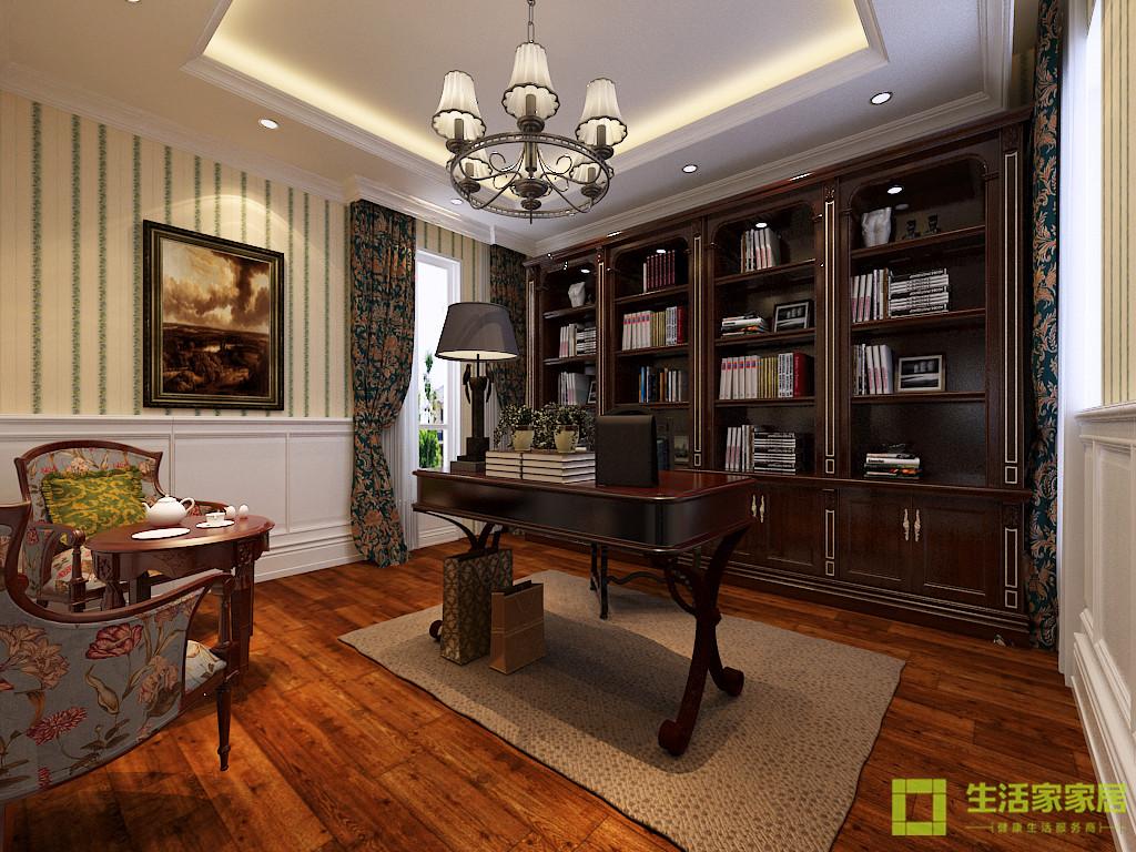 别墅 小资 五居 生活家家居 美式 美式乡村 美式田园 大宅 书房图片来自天津生活家健康整体家装在固安别墅430的分享