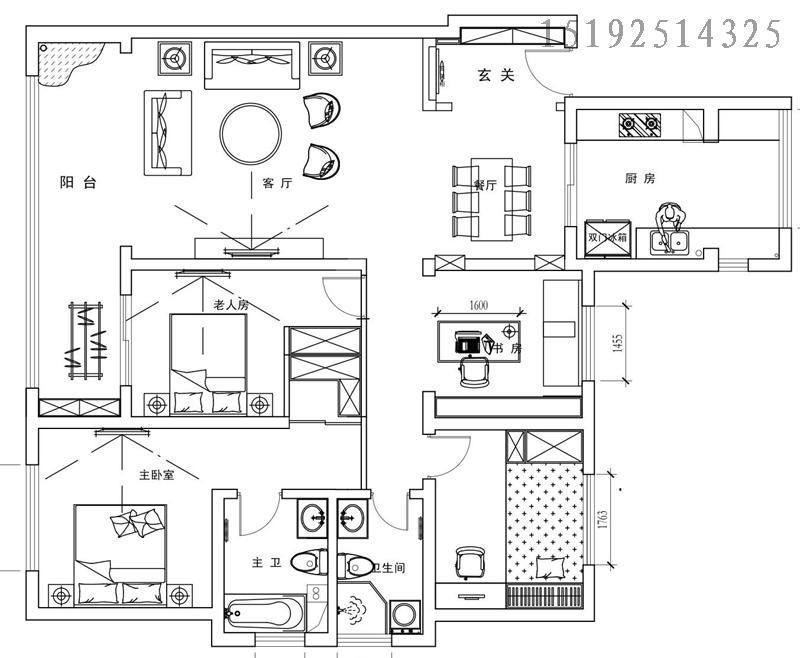 三居 新中式 实创 保利叶公馆 户型图图片来自快乐彩在保利叶公馆三居157㎡新中式装修的分享