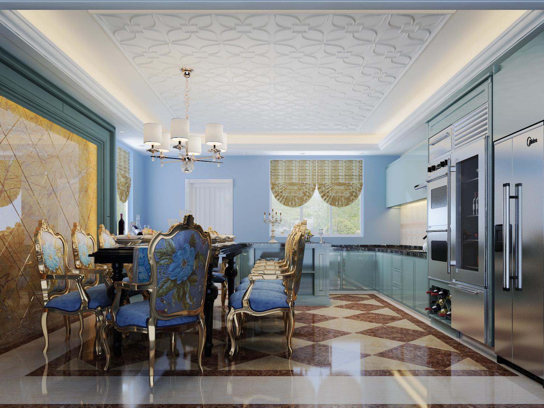 法式风格 别墅装修 装修设计 梵客家装 装修公司 餐厅图片来自天津梵客家装实景体验馆在210平浪漫法式风格|仁爱团泊湖的分享