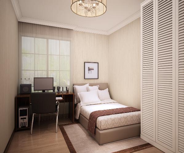 老人房设计注重沉稳色调与舒适性,浅咖色与象牙色的配色很舒服,是很多老人喜爱的选择,简单工作台,满足老人的一些工作和兴趣,衣柜设计完全利用空间,