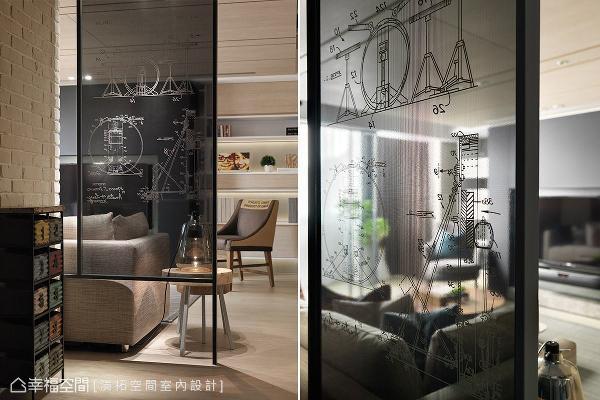 特别将乐器图案点缀在屏风设计上,呼应屋主的职业与兴趣,并选搭复古工业风的矮柜,衬托出场域段落的细腻层次。