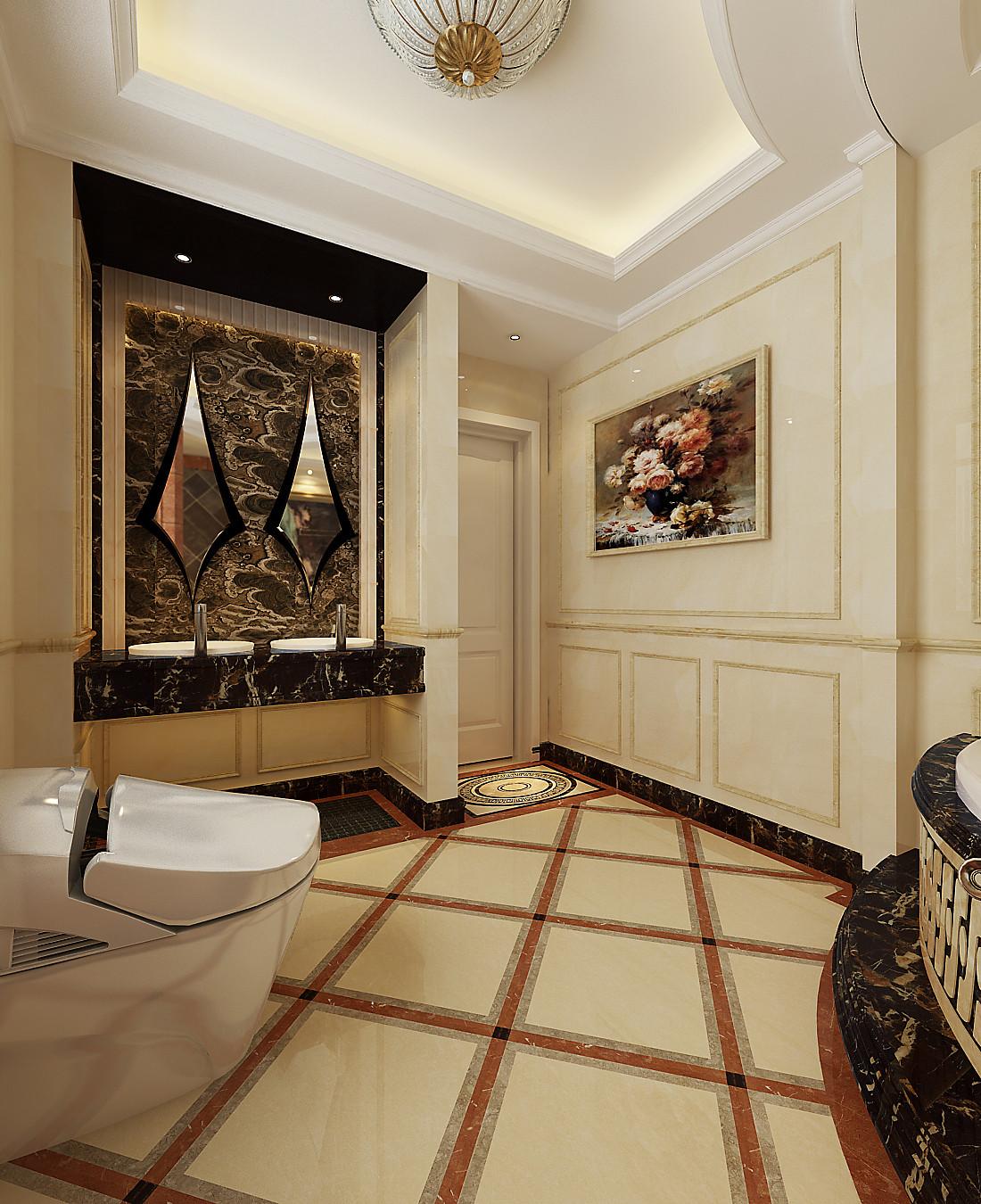 欧式 别墅 别墅装修 卫生间图片来自北京居然元洲装饰小尼在糅合巴洛克典雅与现代唯美主义的分享