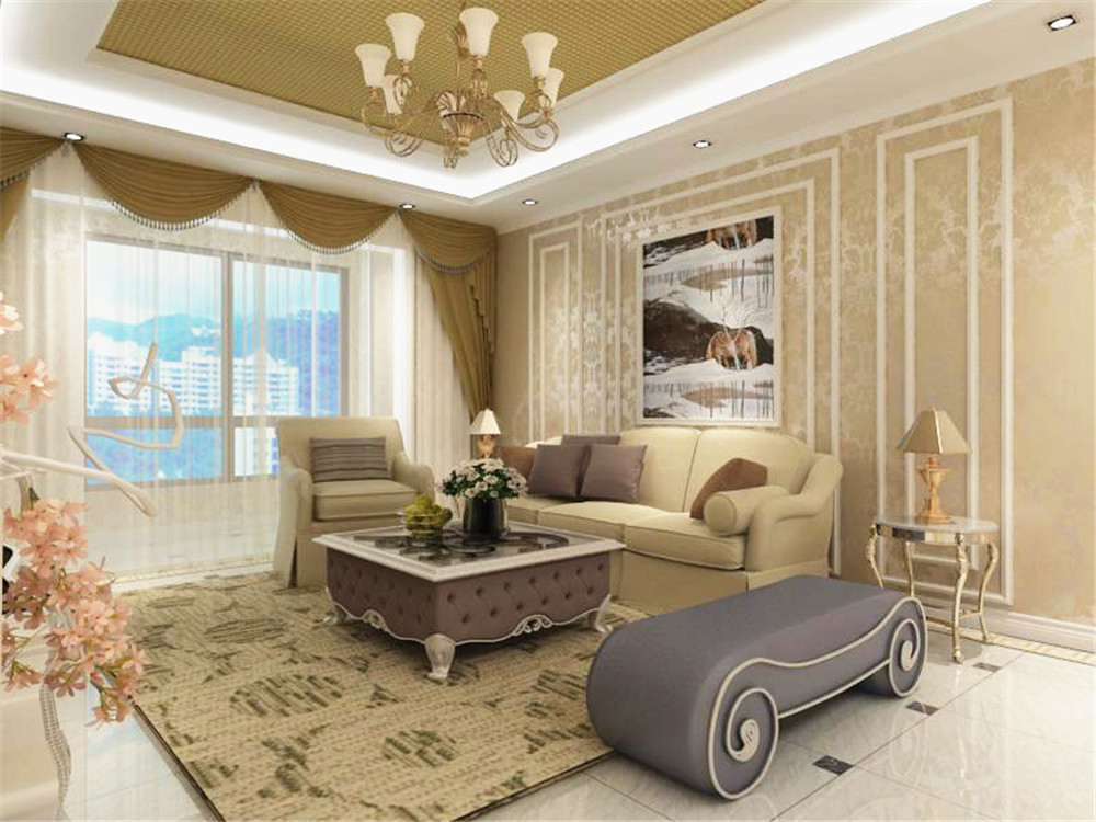 欧式 简约 三居 小资 80后 沙发 茶几 客厅图片来自阳光力天装饰在简欧风格   松江城  134㎡的分享