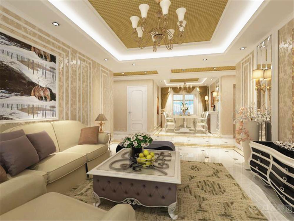 欧式 简约 三居 小资 80后 吊顶 灯具 沙发 客厅图片来自阳光力天装饰在简欧风格   松江城  134㎡的分享