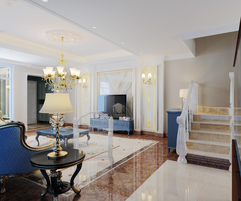 法式风格 别墅装修 装修设计 梵客家装 装修公司 客厅图片来自天津梵客家装实景体验馆在210平浪漫法式风格|仁爱团泊湖的分享