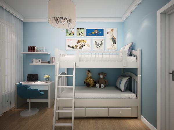 儿童房采用高低床,供两位小朋友居住,天蓝色是小男孩的最爱,仿佛伟大航海世界,小小学习区满足小学生需求。