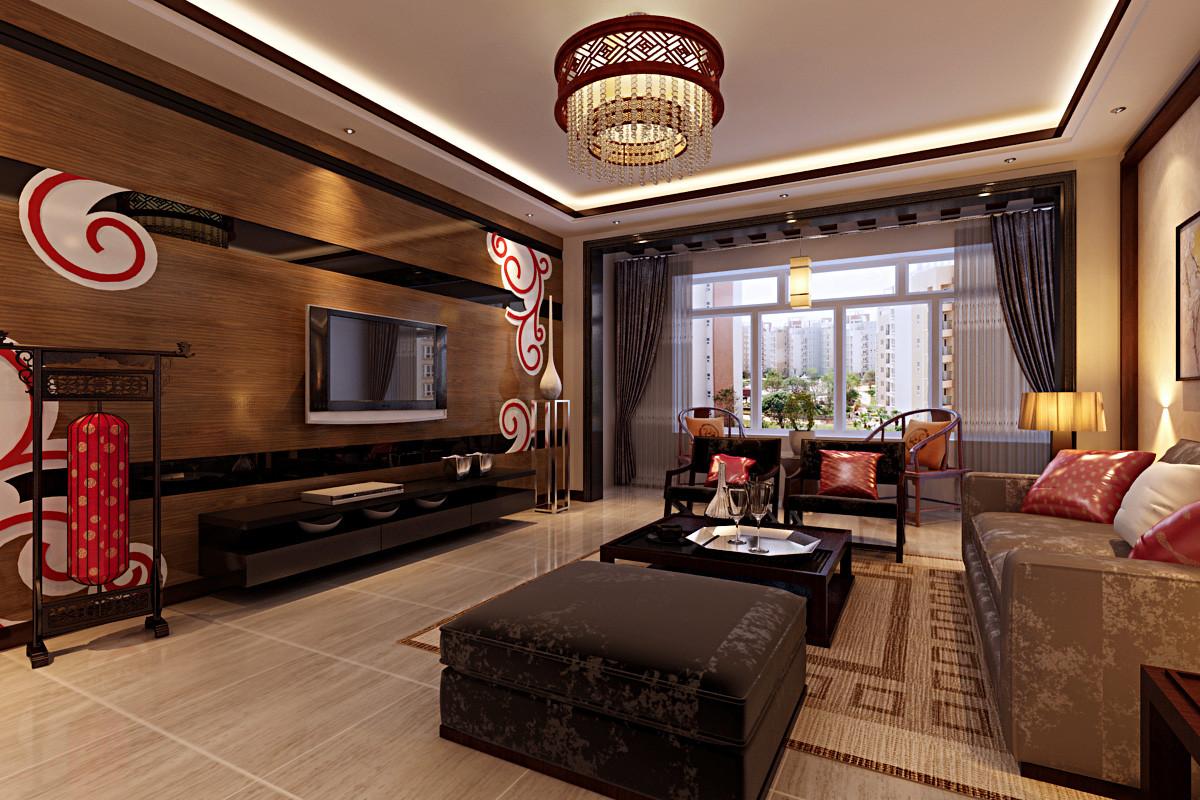 三居 80后 小资 客厅图片来自九创装饰官方微博在济南绿城百合中式125效果图的分享