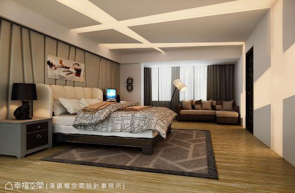 天花板交错的灯带设计,带来现代前卫的效果,结合变化多端的灯色,让空间拥有多元面貌。 (此为3D合成示意图)