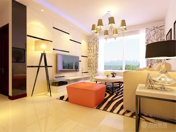 主要装饰材料以瓷砖、镜面以及木质隔断为主,在满足了现代简约风格要求的同时在家具方面也加入了少许后现代的元素,在功能方面,客厅是主人品位的象征。