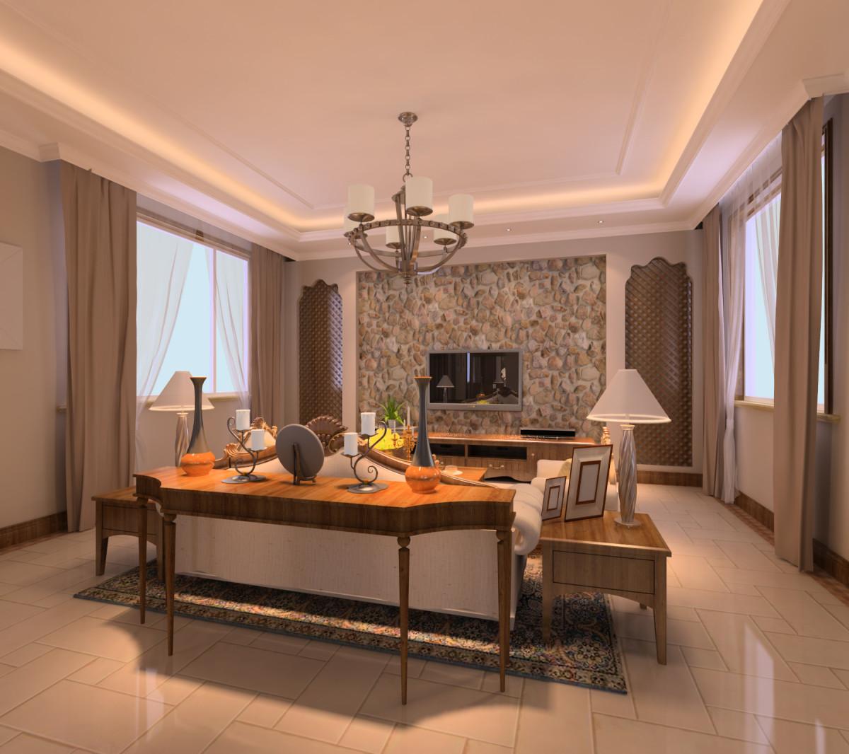 客厅图片来自北京居然元洲装饰小尼在300平米简欧风格`孔雀城的分享