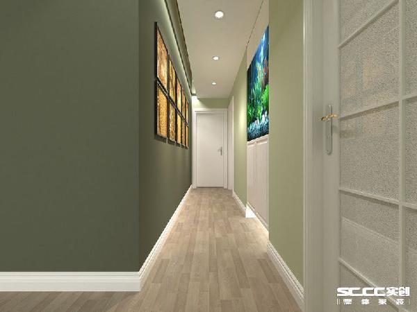 也许过道是整个空间最鸡肋的位置,或许通过墙面颜色反差,通过明亮灯光的映射在照片墙上,鱼儿惬意的游在浴缸的假山的浮草之间,这才发现过道也许可以是一个留住脚步的地方。
