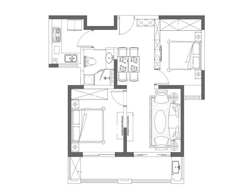 简约 收纳 旧房改造 80后 小资 三居 户型图图片来自孙进进在85平极简主义美家.的分享