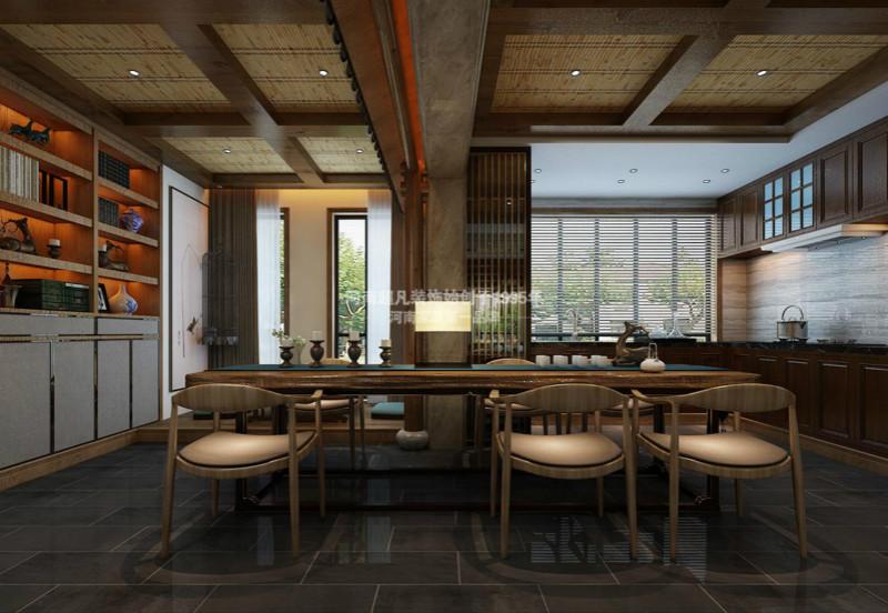 四居室 华润悦府 小资 新中式风格 现代中式 餐厅图片来自郑州最好的装修公司-河南超凡在华润悦府170平户型装修效果图的分享