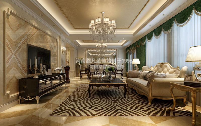 欧式 四居室 海马公园 简欧风格 小资 客厅图片来自郑州最好的装修公司-河南超凡在海马公园220平户型装修效果图的分享