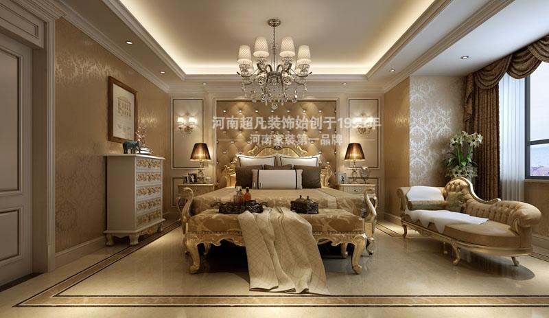 欧式 四居室 海马公园 简欧风格 小资 卧室图片来自郑州最好的装修公司-河南超凡在海马公园220平户型装修效果图的分享