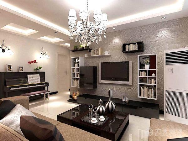 客厅的电视背景墙是以硅藻泥为主,墙体是以白色为整体,沙发背景墙是整体一面墙是用深红的乳胶漆搭配黑色的画为主,来衬托整个空间的亮点及色彩对比度。