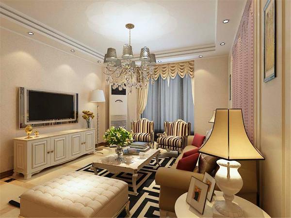 周围使用石膏线框边做造型,既简单又大方,两边使用简单的装饰画,再加上淡暖色的壁纸,配上顶部下来的灯光,把整个客厅都提升了起来。